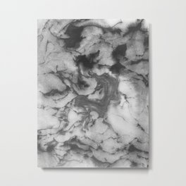 Shin - spilled ink black and white minimal modern watercolor marble printmaking painting monochrome Metal Print