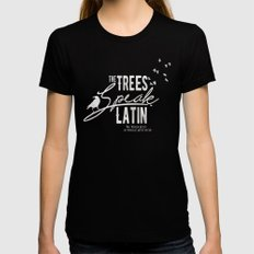 The Trees Speak Latin - Raven Boys Black MEDIUM Womens Fitted Tee