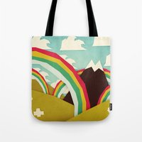 yetiland Tote Bags featuring Happy happy joy joy! by Yetiland