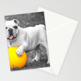 English bulldog white and the yellow ball Stationery Cards