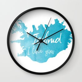 Iceland I love you Wall Clock