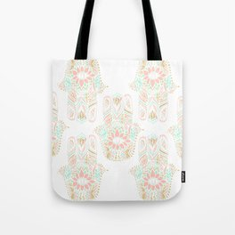 Modern girly pink mint gold Hamsa hand of fatima Tote Bag
