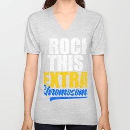 I Rock This Extra Chromosome T-shirt Design Raise Awareness Support Equality Down Syndrome Disorder Unisex V-Neck