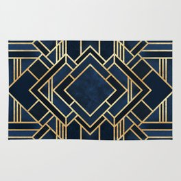 Art Deco Fancy Blue Rug