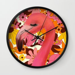 Flamingo with Retro Nz Floral Wall Clock