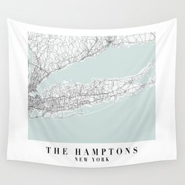 The Hamptons New York Blue Water Street Map Wall Tapestry