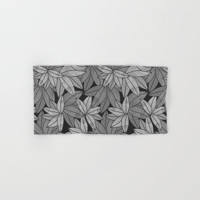 Black & White Leaves By Everett Co Hand & Bath Towel