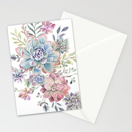 succulent watercolor 6 Stationery Cards