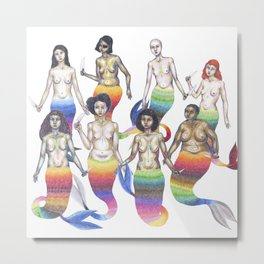 group of mermaids holding knives Metal Print