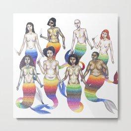 group of mermaids holding knives Metal Print