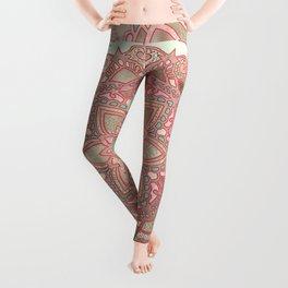 Rose gold cyan mandala Leggings