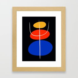 Abstract black minimal art with red yellow and blue Framed Art Print