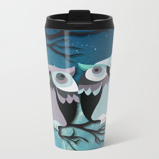 Owls In Moonlight Metal Travel Mug