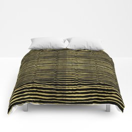 Gold and black stripes minimal modern painted abstract painting minimalist decor nursery Comforters