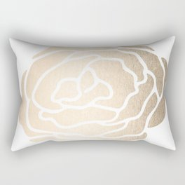 Rose White Gold Sands on White Rectangular Pillow