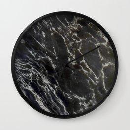 MIDNIGHT BLACK MARBLE Wall Clock