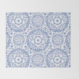 Blue Rhapsody on white Throw Blanket
