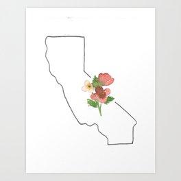 california // watercolor california poppy state flower map Art Print