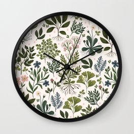 Herbarium ~ vintage inspired botanical art print ~ white Wall Clock