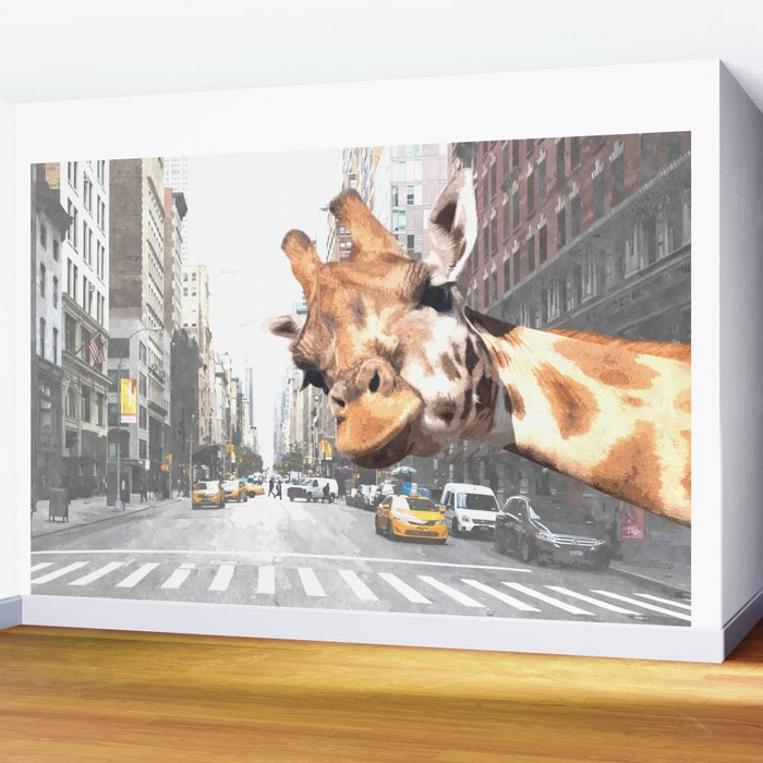 Selfie Giraffe in New York Wall Mural