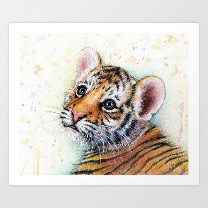 Nursery Artwork Tiger Cub Baby Animal Watercolor Jungle