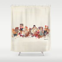 new jersey Shower Curtains featuring atlantic city new jersey by bri.b