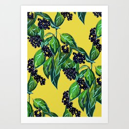 Dark Berry Floral Art Print