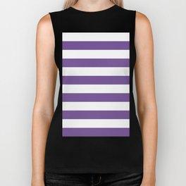 Horizontal Stripes - White and Dark Lavender Violet Biker Tank