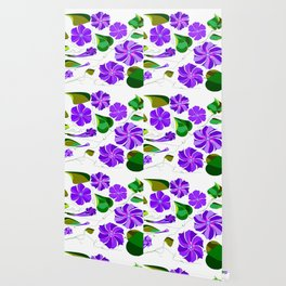 Morning  Glories in Purples and Lavender Wallpaper