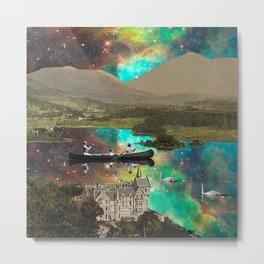 CANOEING IN THE NEBULA NEAR THE CASTLE Metal Print