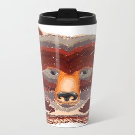 Grizzly in red Metal Travel Mug