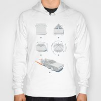 delorean Hoodies featuring Origami DeLorean by 6amcrisis