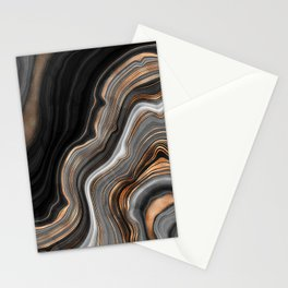 Elegant black marble with gold and copper veins Stationery Cards