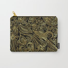 Black and gold ethnic paisley pattern Carry-All Pouch