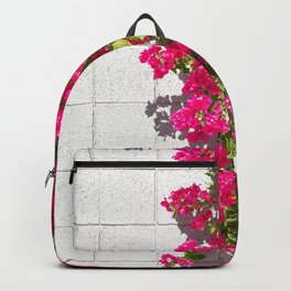 Bougainvilleas and White Brick Wall in Palm Springs, California Backpack