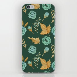 Watercolor floral turqiouse roses print iPhone Skin