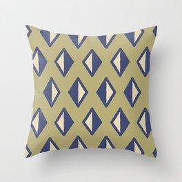 Diamond Pattern Sage Green and Blue Throw Pillow