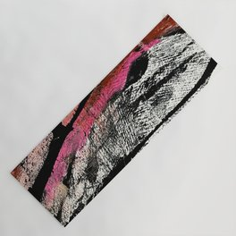 Motivation [2] : a colorful, vibrant abstract piece in pink red, gold, black and white Yoga Mat