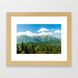 Carpathian Mountains Landscape, Summer Travel Landscape, Transylvania Mountains, Forests Of Romania Framed Art Print