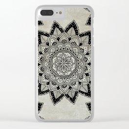 Mandala Art Gray Clear iPhone Case