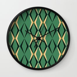 Art Deco Green & Gold Wall Clock