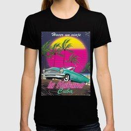 Take a Trip to Cuba reto 1985 poster T-shirt