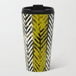 Yellow Herringbone Travel Mug