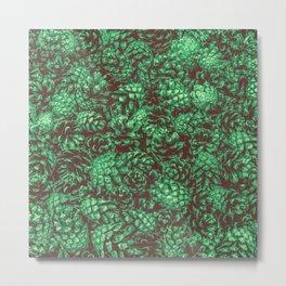Scent of Pine RETRO GREEN / Photograph of pine cones Metal Print