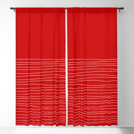 Hand Striped Red Blackout Curtain