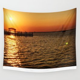 Sunset on the Bay Wall Tapestry