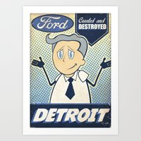 detroit Art Prints featuring Detroit by Sophie Broyd