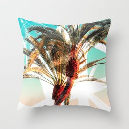Modern summer tropical palm trees seascape photography white abstract geometric brushstrokes paint Throw Pillow