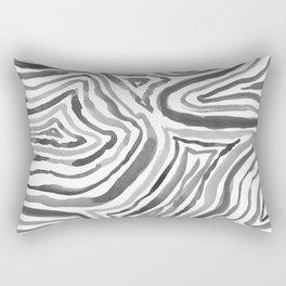 Black and White Abstract Line Art Minimal Gray Rectangular Pillow