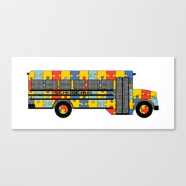 Autism Awareness School Bus Canvas Print